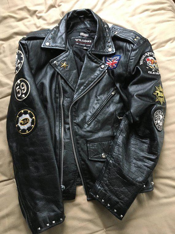 78bccc19 Motorcycle Jacket Vintage Rocker BSA Motorcycle Jacket Punk Rock Custom  Painted Studs