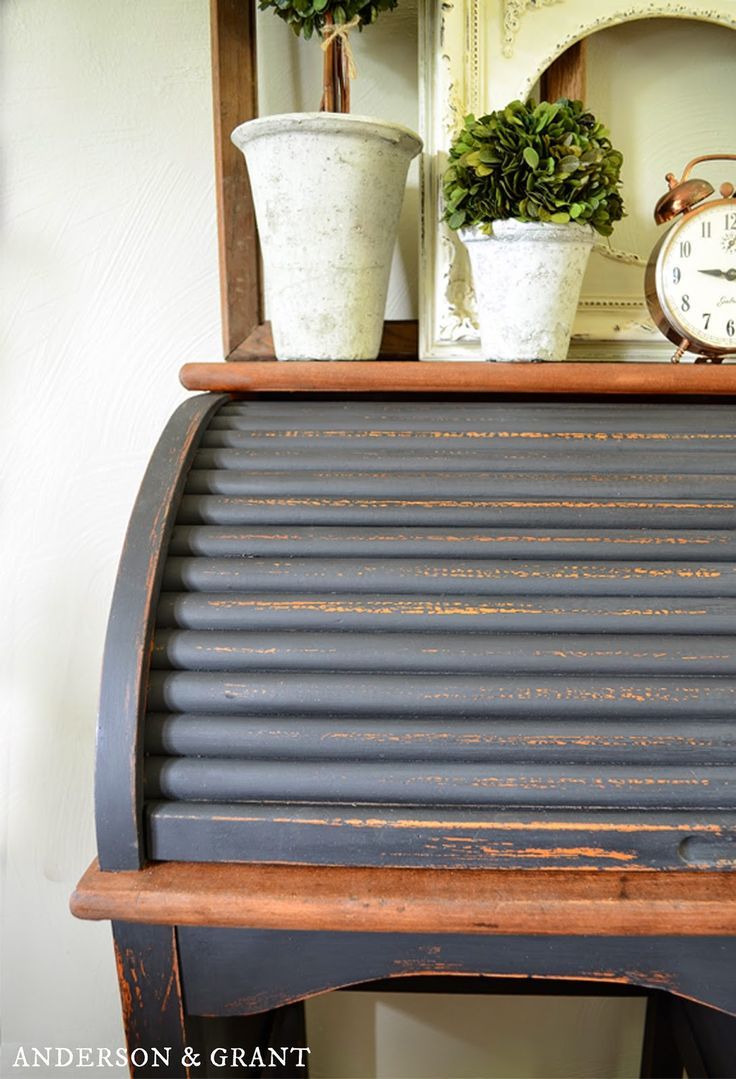 black painted roll top desk - Rolltop Desk
