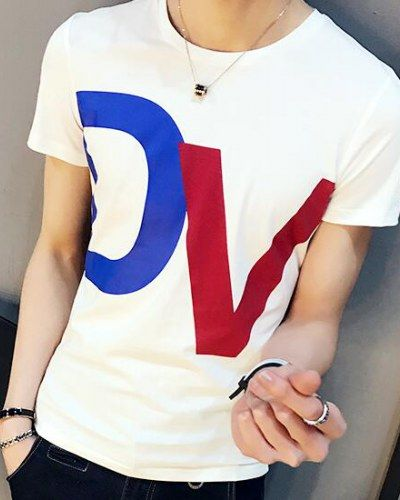 DV color block t shirt for teenage guys plus size clothing cotton tee shirts
