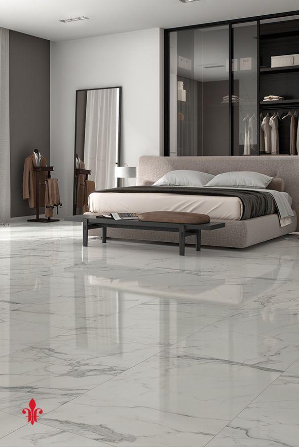 Recamara contemporánea con piso de mármol blanco Piso