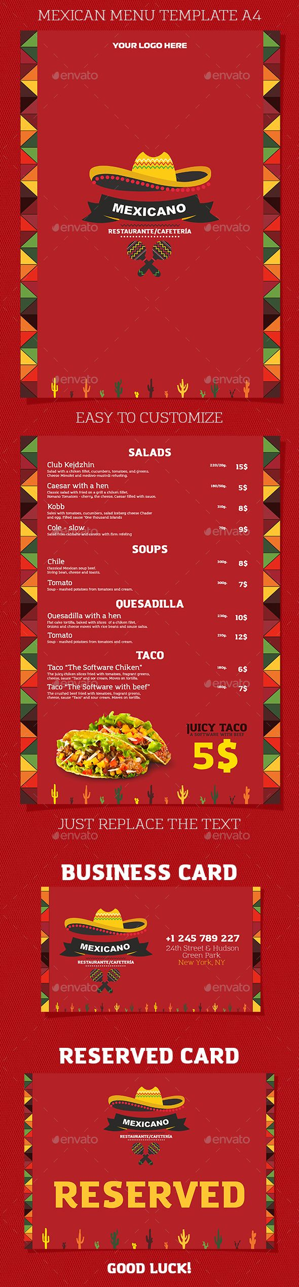Mexican Restaurant or Cafe Menu  — PSD Template #latino #chili • Download ➝ https://graphicriver.net/item/mexican-restaurant-or-cafe-menu/17965794?ref=pxcr