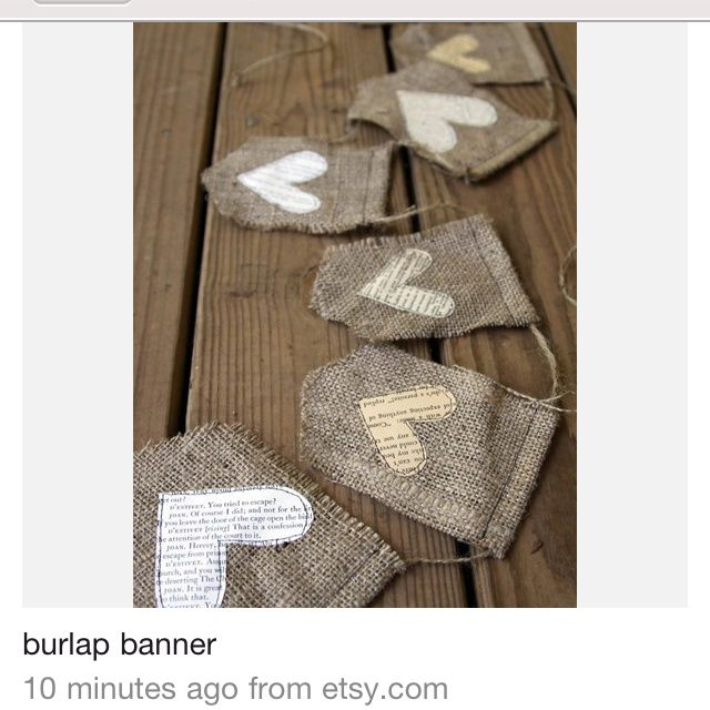 shabby chic burlap crafts | Burlap Banner- would be cute hung in a shabby chic room | Crafts