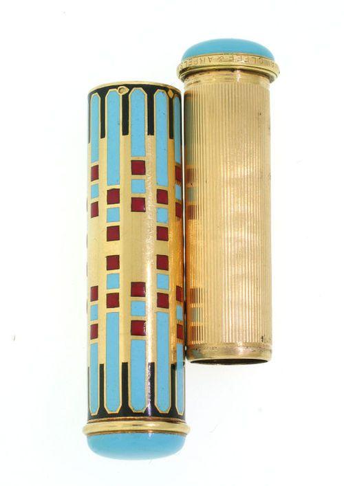 Art Deco Lipstick Case  France, c.1930  Gold & enamel