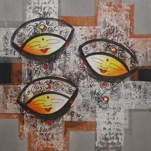Lukisan Abstrak Tiga Topeng