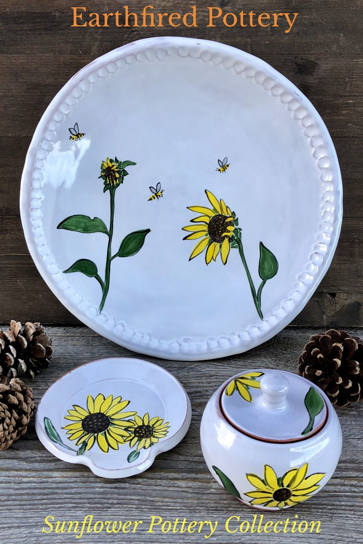 Sunflower Collection Earthfired Pottery New Mexico Pottery Hand Painted Pottery Pottery Supplies