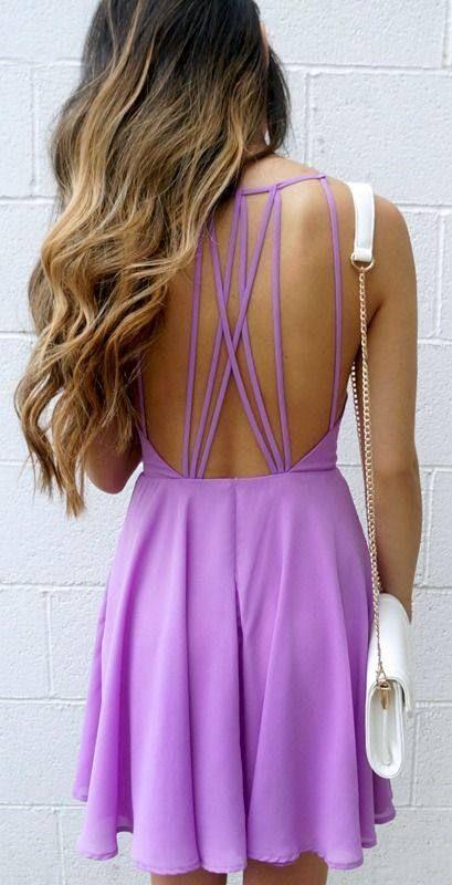 Fantastic Strappy Back Purple Summer Dress
