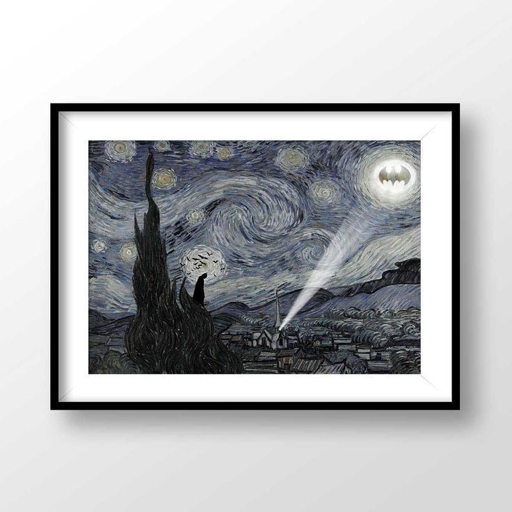 Batman Print, Starry Night Batman, Starry Night poster, Batman printable, Vincent van Gogh, Batman Nursery Decor, Batman Illustration, 2045 by PrintPoint on Etsy https://www.etsy.com/listing/513530135/batman-print-starry-night-batman-starry