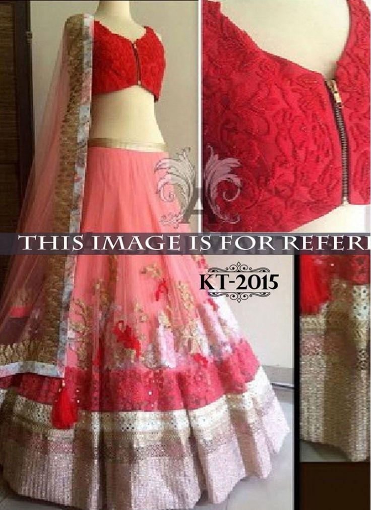 Sparkling Peach and Red Raw Silk Designer Wedding Lehenga choli