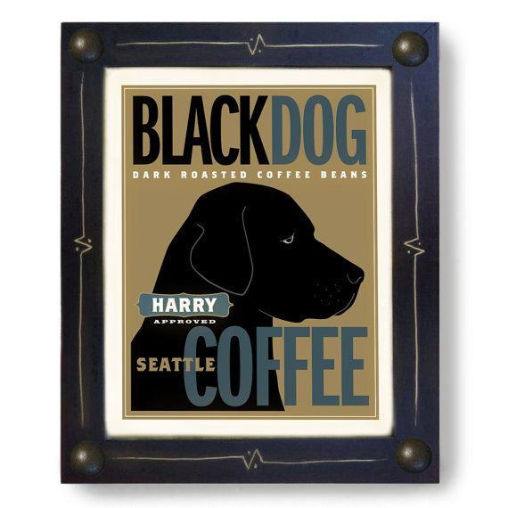 Custom Labrador Art Retriever Black Dog Art Print by DexMex, $44.00