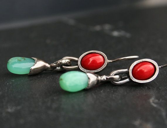 sterling silver dangle earrings with red bamboo coral and by vdeux, €74.00