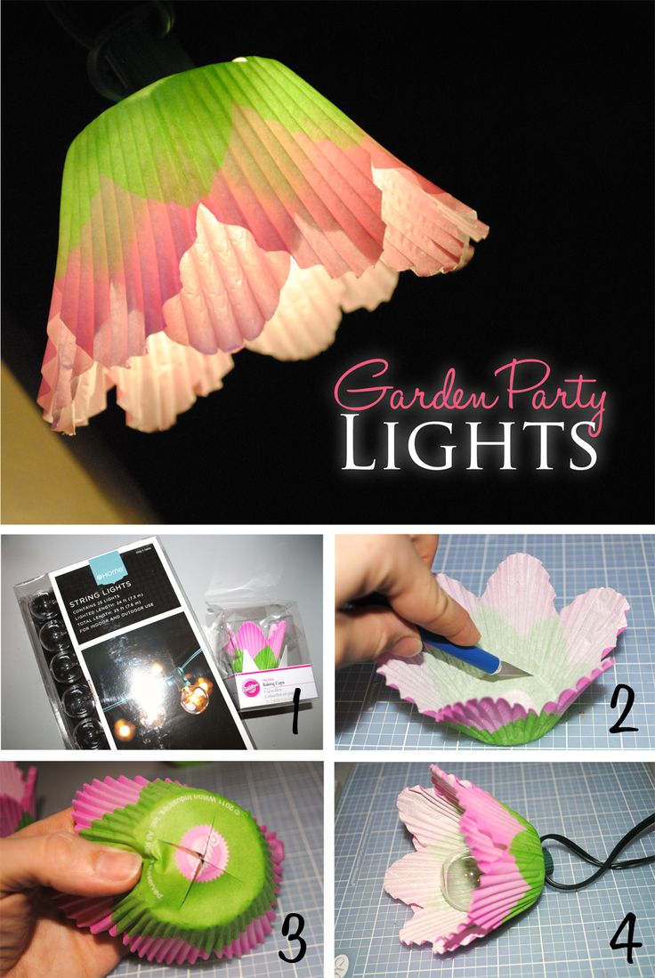 Itsy Belle: {DIY} Garden Party Flower Lights.  Cupcake liners and string lights (like christmas lights)
