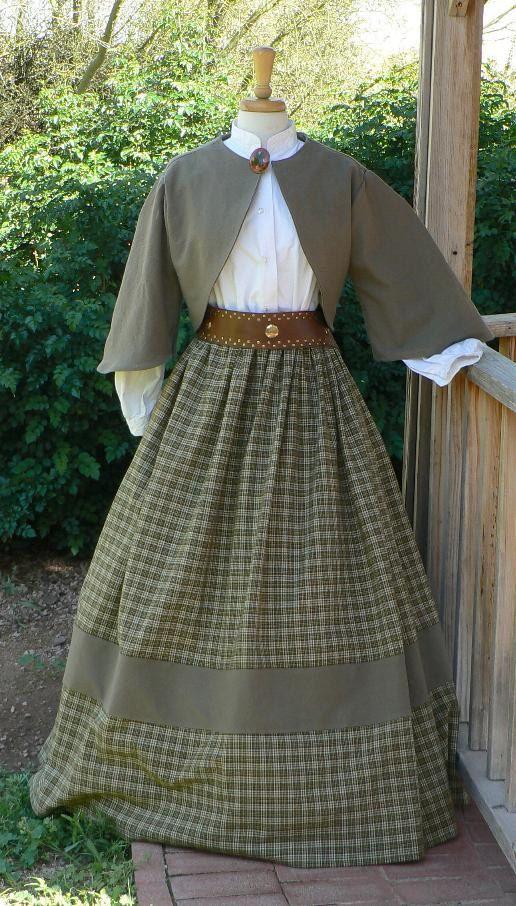 Civil War Zoave Jacket Victorian Bolero Historical Costume Homespun Plaid Skirt. LOVE LOVE LOVE~