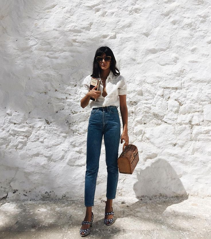 White linen shirt, blue high-waisted jeans, gingham sandals & wicker bag | @styleminimalism