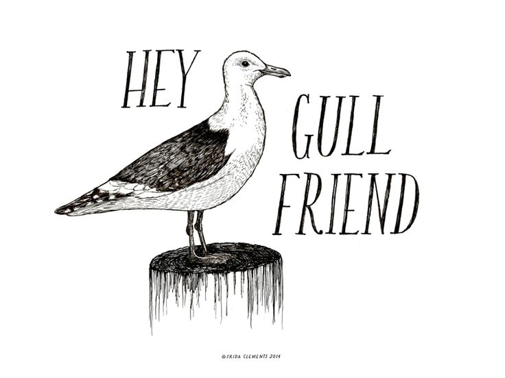 hey gull hey!Hand-illustrated miniature art print. Measures 6x8 inches, screen-printed on archival paper. Packaged for gifting and shipped in a sturdy kraft mailer. © Frida Clements 2014 / Seattle, WAHave a little pun!