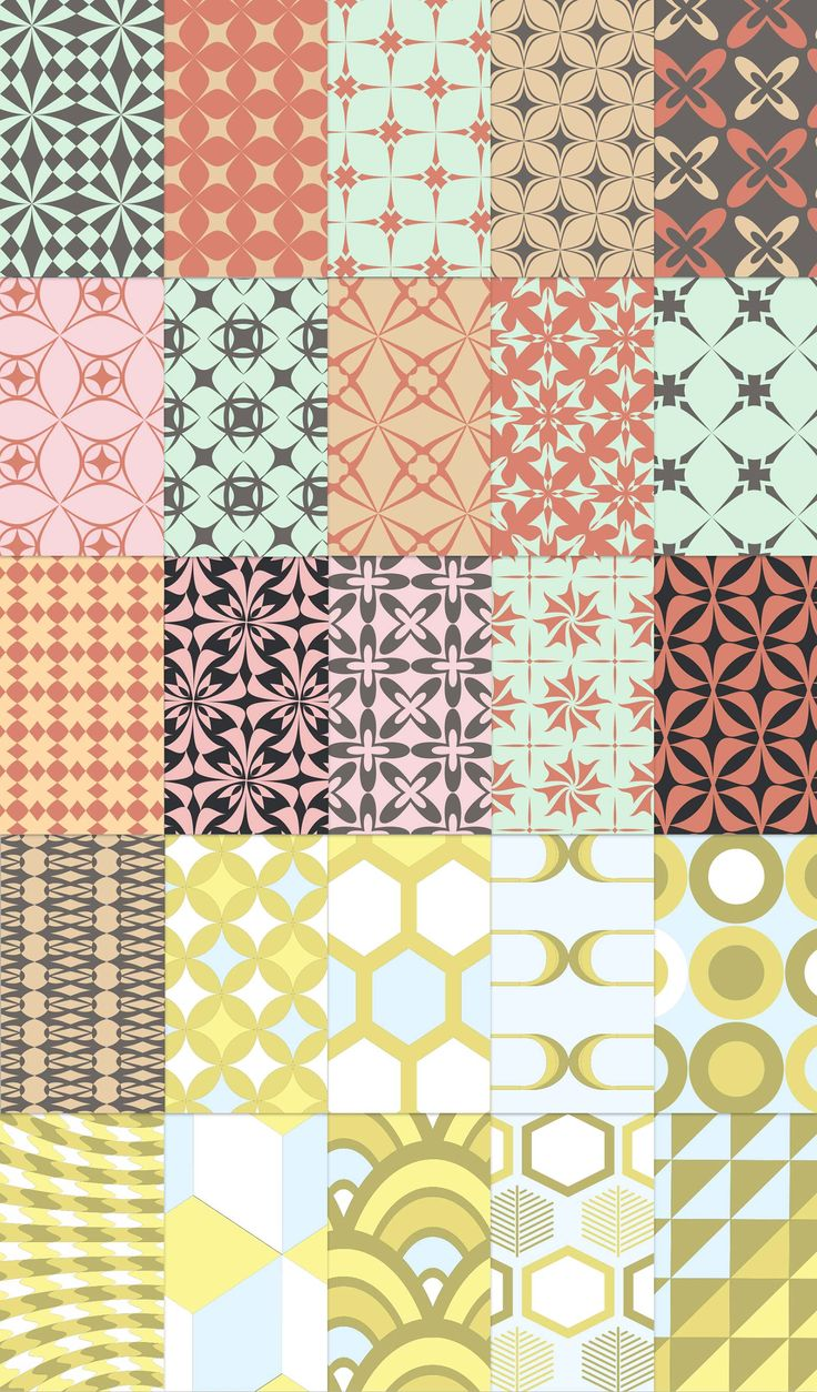 Free download: 25 free retro patterns. Featuring a 50s style retro color palette, the shapes cover a range of styles from 60s op-art to 70s pill shapes and even contemporary illustrative patterns.