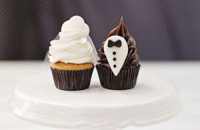 Bebel: Cupcakes especiais para casamento remetem ao traje dos noivos