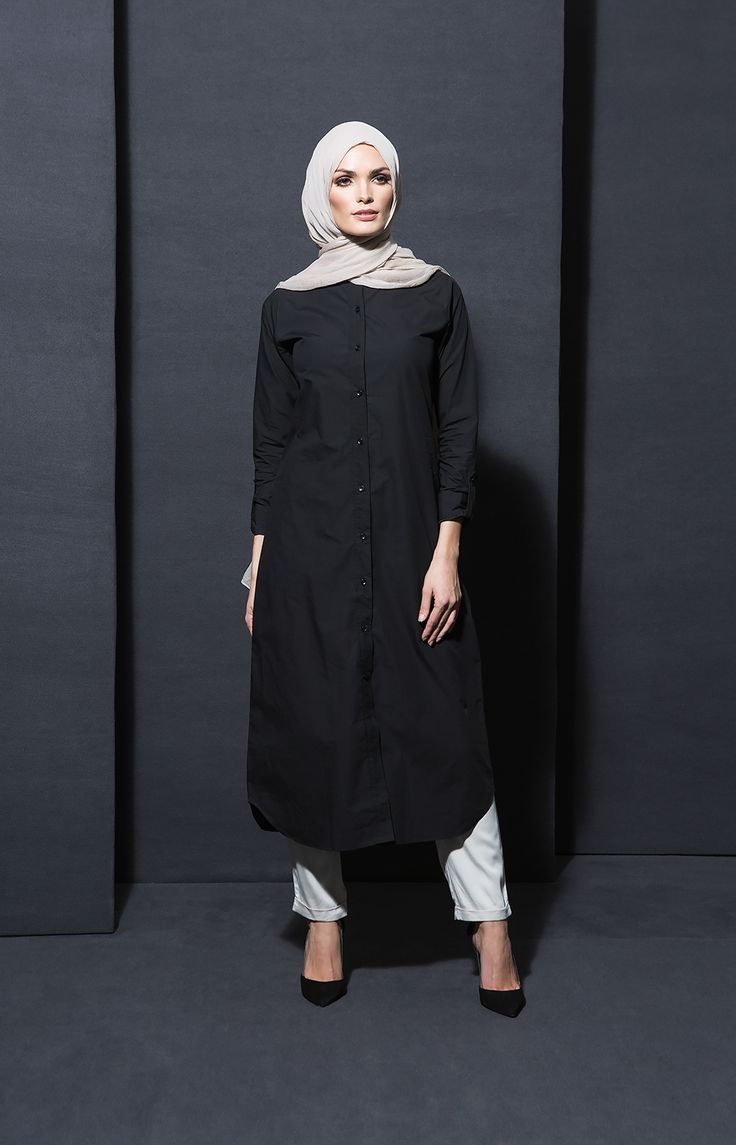 Black Poplin Shirt Dress