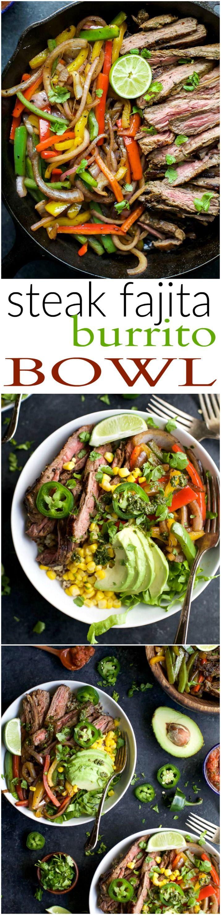 Homemade STEAK FAJITA BURRITO BOWLS filled with quinoa, fajita steak, avocado and a cilantro lime chimichurri sauce you'll adore. This quick Burrito Bowl is done in 30 minutes and is sure to be a favorite! | joyfulhealthyeats.com | Gluten Free Recipes