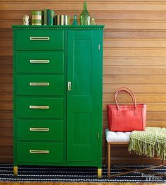 Give a century-old cabinet a lively upgrade with fresh paint and clever add-ins.