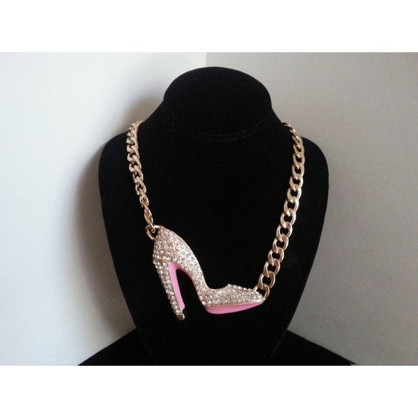 Vintage Rhinestone Shoe Necklace, Pink Gold Chunky 1980's Jewelry,... ($52) via Polyvore featuring jewelry, necklaces, 80s necklace, chunky rhinestone necklace, pink gold necklace, vintage rose gold jewelry and rose gold chunky necklace