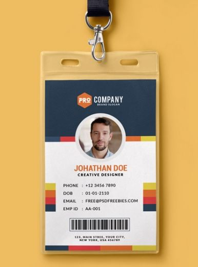 10 free employee id card design  templates  u0026 mockups