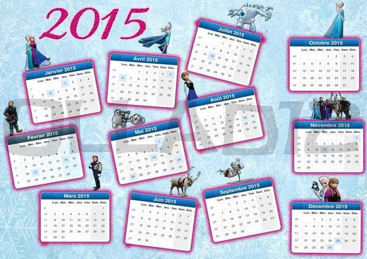 Glitter 2015 New Year Themed Light Blue Monthly Printable Frozen