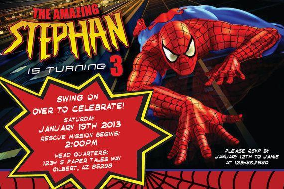the amazing spiderman birthday invitation by papertalescustom