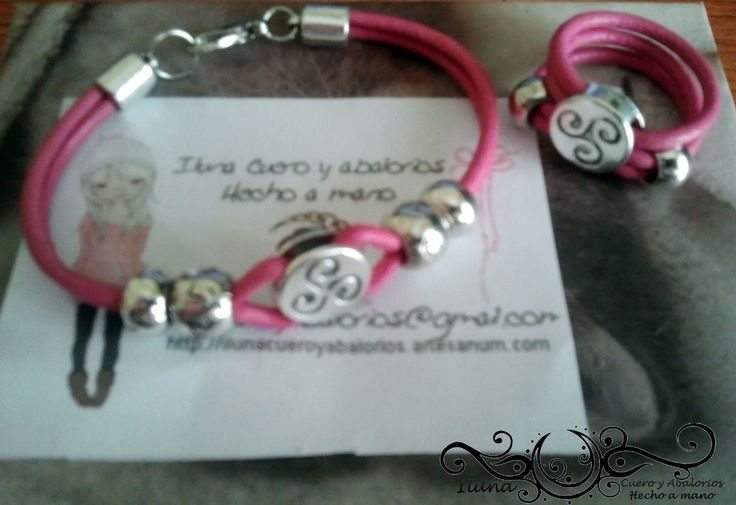 pink leather celtic bracelet and ring