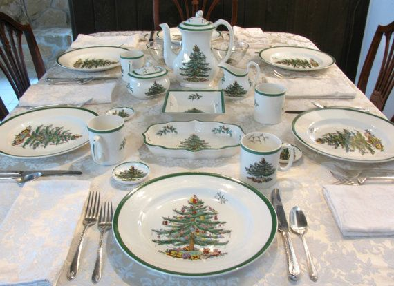 Spode Christmas Tree Plates Mugs Coffee Pot by MeadowLaneVintage