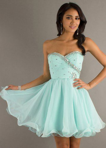 Mint Short Strapless Beaded Top A-line Homecoming Dress