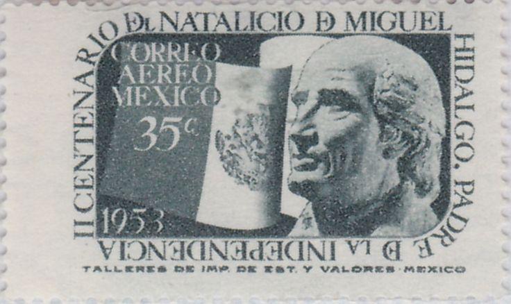 II Centenario del nacimiento de Miguel Hidalgo y Costilla Bandera mexicana y Miguel Hidalgo y Costilla 1953 México