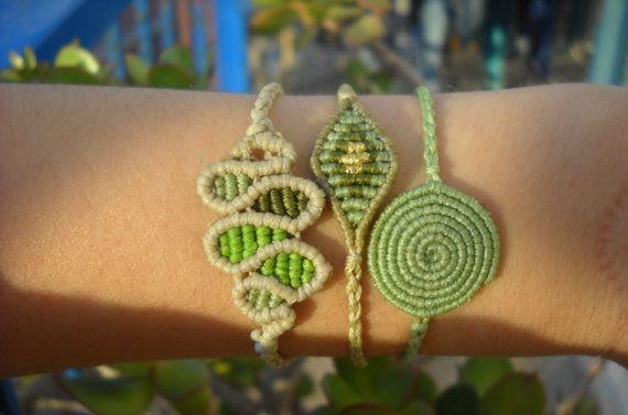 Set di bracciale macrame verde di 3 di lulupica su Etsy