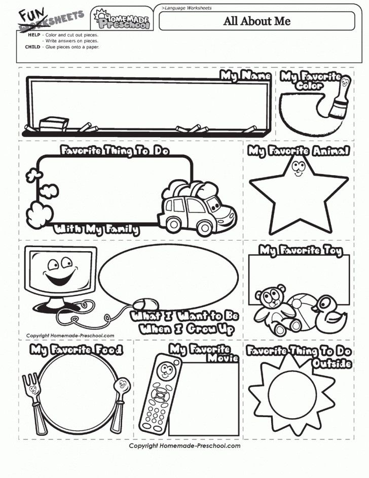 graphic regarding All About Me Printable Worksheets referred to as Assortment of All above me worksheet preschool printable