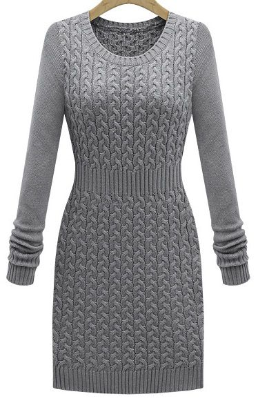Grey Long Sleeve Cable Knit Sweater Dress