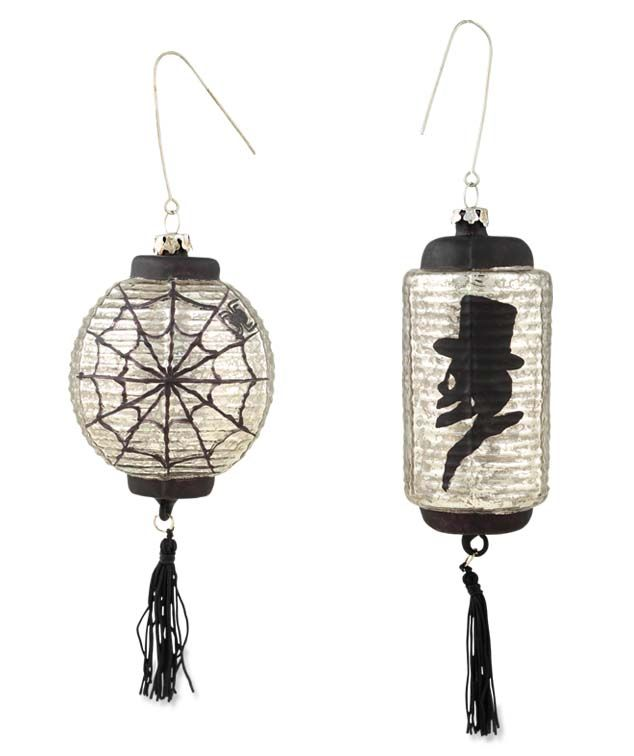Silhouette Silver Lantern Ornament | Bethany Lowe. Chineese lanterns turned Victorian style lamps.