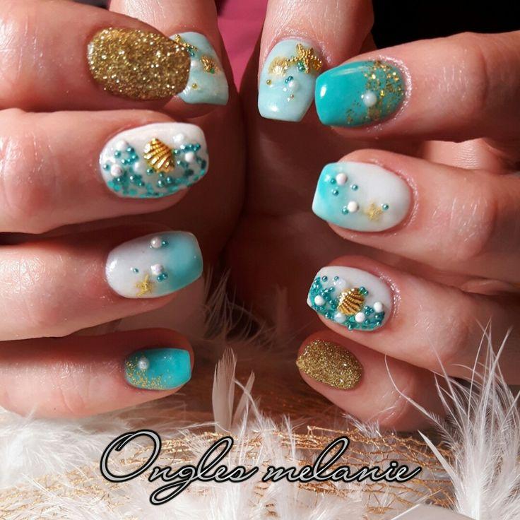 sea nails ..white ..aqua ..gold