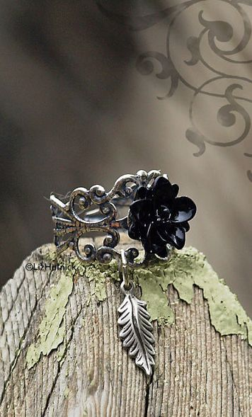 Gothic Lotus and Leaf Ring. Adjustable Silver Plated