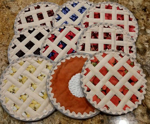 Fruit Pies Quilted Hot Pad Hotpads Pot Holders Trivet Pie