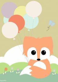 Poster: Baby vos met ballon