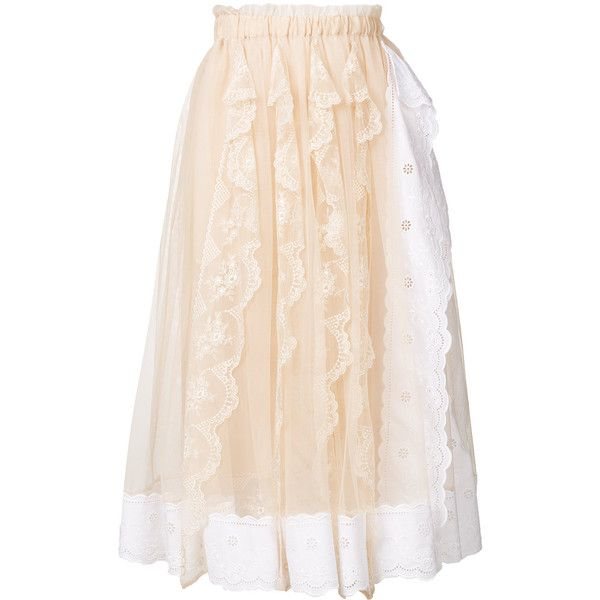 Simone Rocha pleated lace trim skirt (11.840 NOK) ❤ liked on Polyvore featuring skirts, simone rocha skirt, knee length pleated skirt, simone rocha, pleated skirts and pink pleated skirt