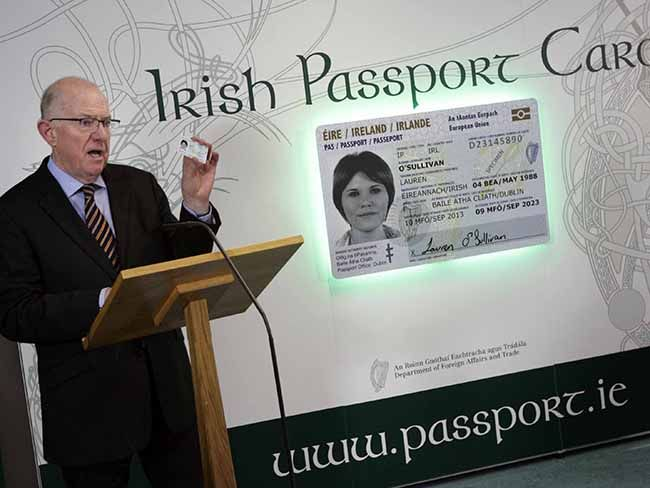 Credit card sized Irish passport unveiled by Irish government. Ireland's Minister for Foreign Affairs and Trade, Charlie Flanagan, has unveiled the design of the newIrish PassportCard, which will allow passport holders who hold the card to travel within the European Union and the European Economic Area. Irish Americans who haveIrish passportswill likely be eligible for them. Irish Passport Card will act as extra identification and act as a backup travel document for Irish citizens.