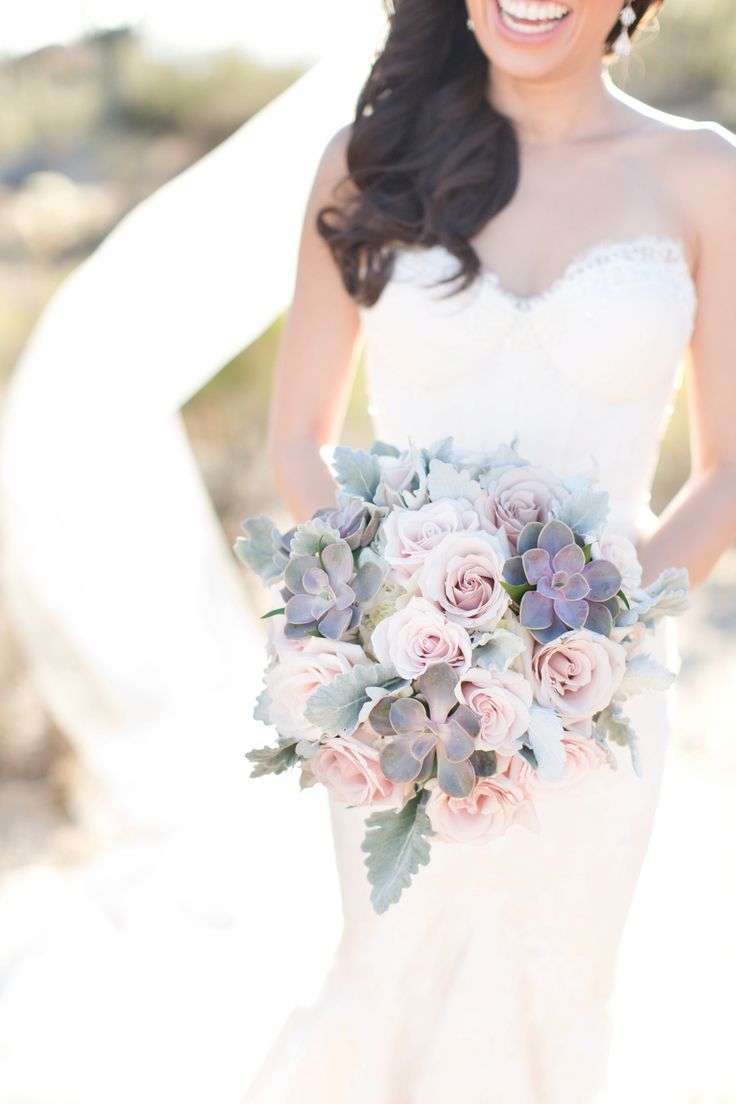 Succulent bouquet with soft pastel purple, pink roses and dusty miller. Perfect…