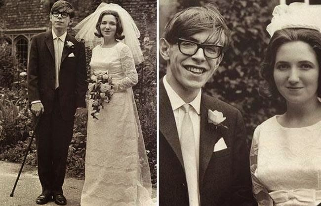 Stephen Hawking is one of the most brilliant minds the world has ever seen. He is physically recognizable because he is paralyzed due to amyotrophic lateral sclerosis. Hawking is shown here in a rare photo of his younger years, on his marriage to Jane Wilde in 1965.