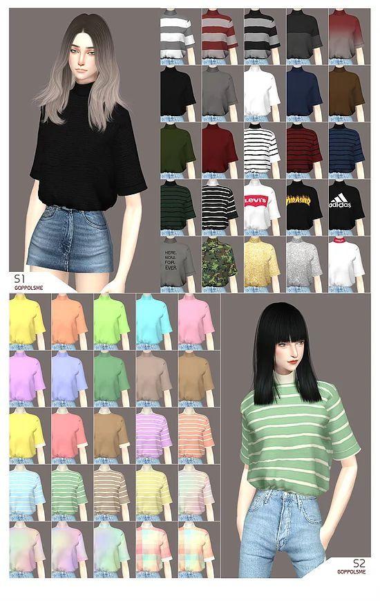 weekly sweat tee blouse sims 4 cc ile ilgili görsel sonucu