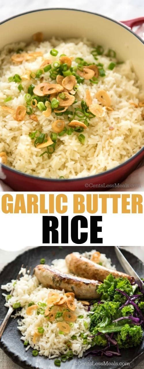 Buttery, garlicky rice – a perfect side for any meal, and so good you can eat it plain!