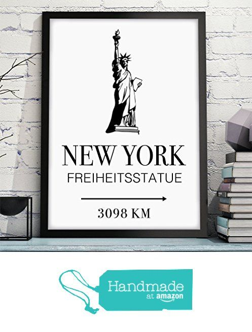 owlbook new york freiheitsstatue mit individueller entfernungsangabe wandbild ungerahmt. Black Bedroom Furniture Sets. Home Design Ideas