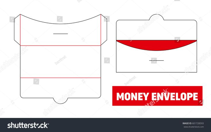 Money, cash envelope die cut, stamp. Empty shablon template. Vector black isolated circuit. Gift for wedding, greeting, honeymoon, holiday, marriage, celebrate, birthday, congratulations.