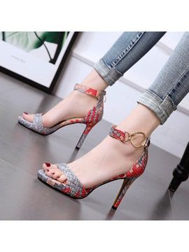 High Heels Shoes Summer Europe And America Sexy Snake Pattern Personality Cross Straps Fine With Open Toe Sandals High Heels Women Sufficient Supply