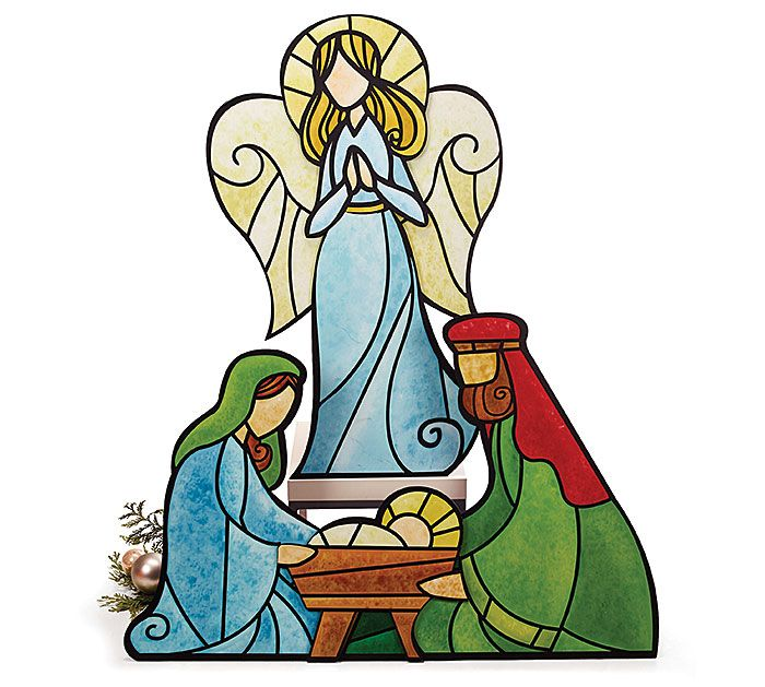 "Large wooden yard decor Holy Family Nativity scene.  Angel is at 40.5"" H X 25.5""W, family at 29"" H x 45""W   #burtonandburton #Christmas #stained #glass #wooden #nativity #holy #family #yard #decor #Carolyn #Figuereo #art"