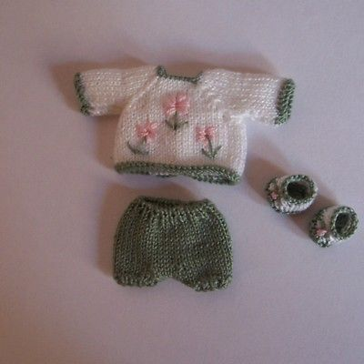 OOAK Handmade knitted outfit for miniature baby doll #RB191